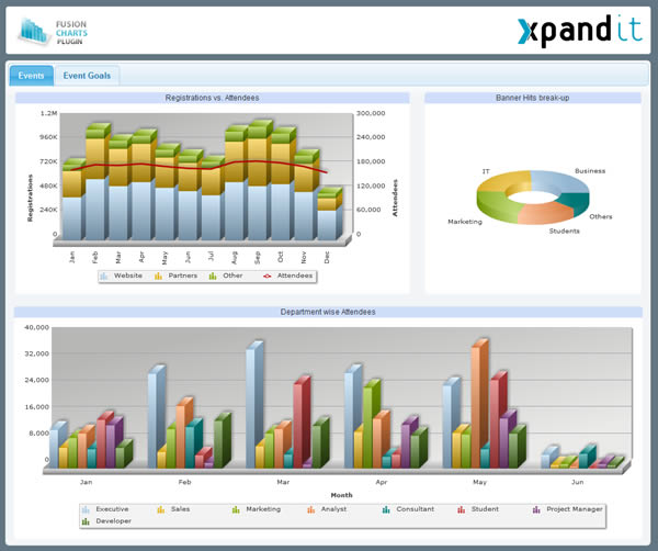 Pentaho dashboard containing charts from FusionCharts v3