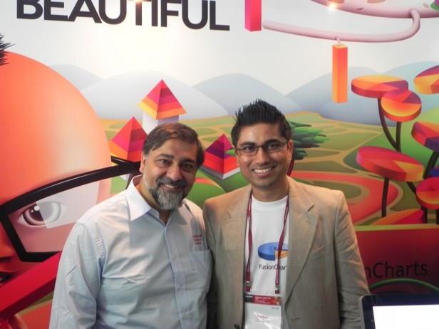 Pallav and Vivek Wadhwa at the FusionCharts booth