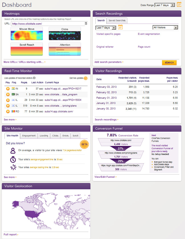 ClickTale Dashboard - Heatmaps, Visitor Recording and Geographic Distribution