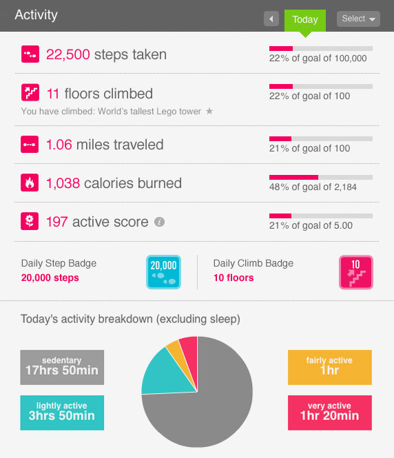 FitBit Dashboard - Activity, Sleep Patterns and Badges