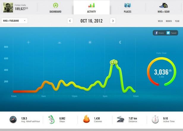 Nike+ fuelband web app dashboard