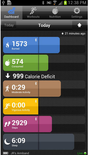Bodymediafit mobile dashboard