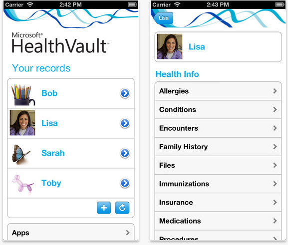 Healthvault mobile dashboard