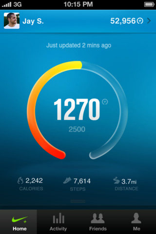Nike+ fuelband mobile app dashboard