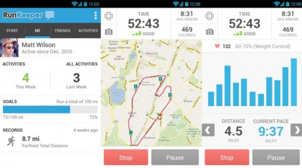 Runkeeper android dashboard
