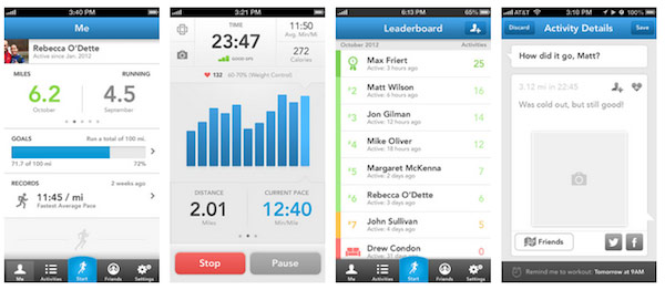 Runkeeper iphone dashboard