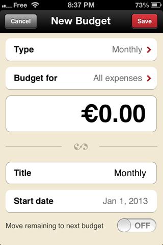 Toshl - Add Budget - iPhone