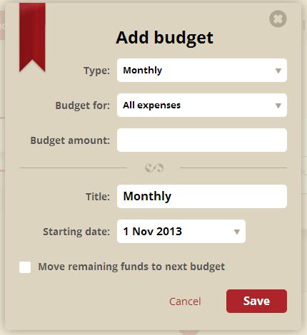 Toshl - Add Budget
