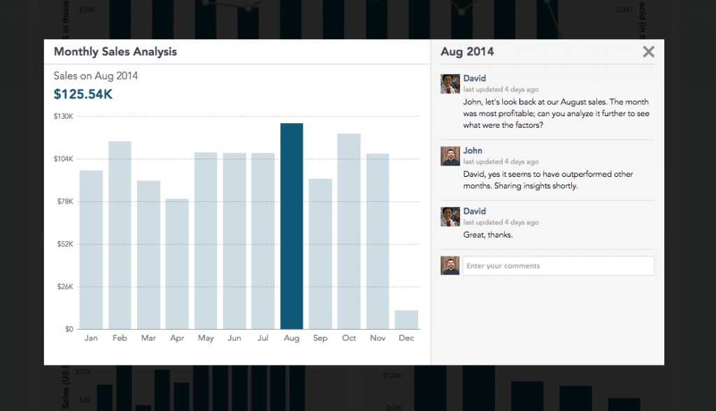 Screenshot of comment area in collaboration dashboard