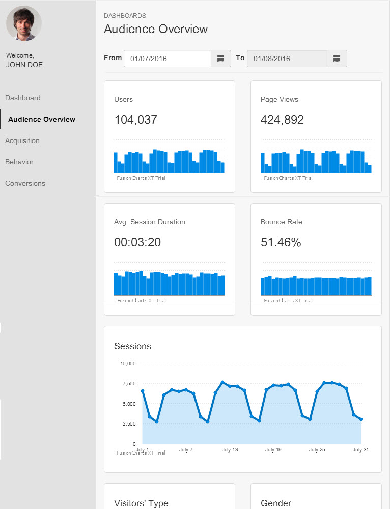 Partial view of the Google Analytics dashboard when rendered on an iPad
