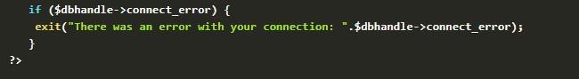 code for rendering error message