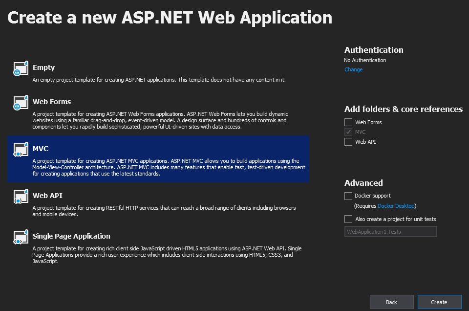 Web Application in visual studio